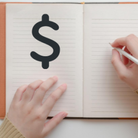 A Person Writing in a Journal with a dollar sign
